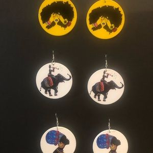 Afrocentric wooden earrings